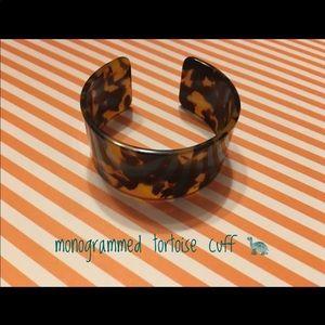 Tortoise cuff with gold monogram